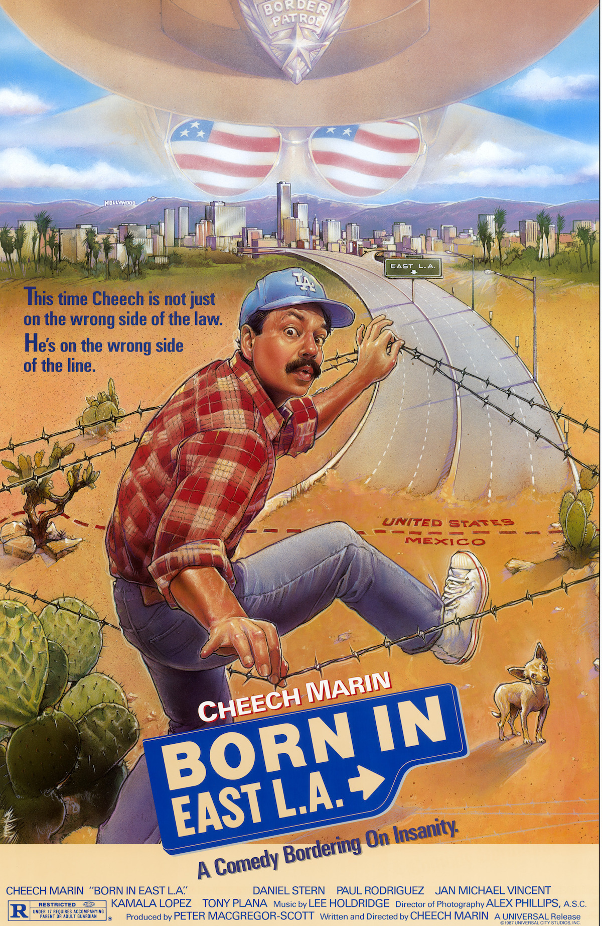 """born in east l a About """"born in east la"""" """"born in east la"""" is the first single from cheech & chong's final studio album get out of my room it is a parody of bruce springsteen's """"born in the usa"""" with references also made to randy newman's """"i love la."""