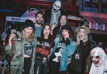 "(R-L) Tonya Brewer, Brant Doughtry, Kimberly Hidalgo, Christopher French, Ashley Tisdale, and Shelley Buckner at Universal Studios Hollywood's ""Halloween Horror Nights"" on Saturday, October 14, 2017."